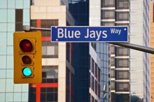 Traffic light on street in Toronto Canada America